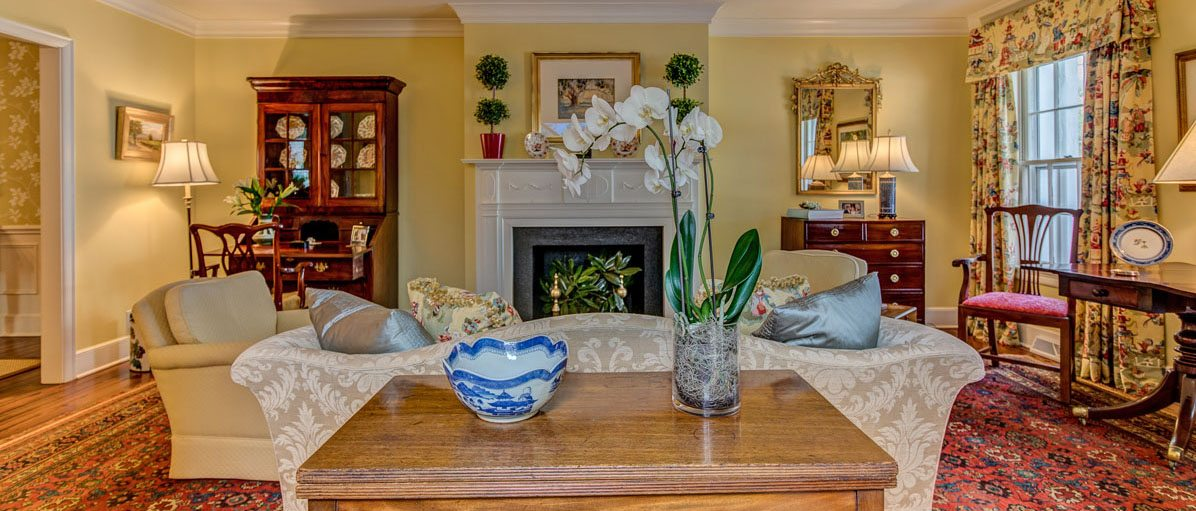 home staging example of living room at 53 South Battery