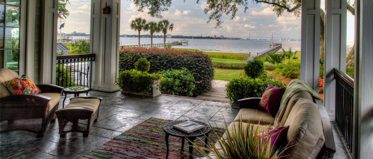 waterfront home covered patio