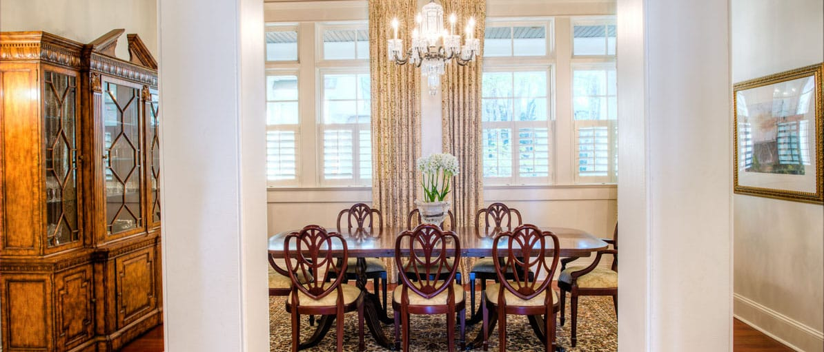waterfront home formal dining room