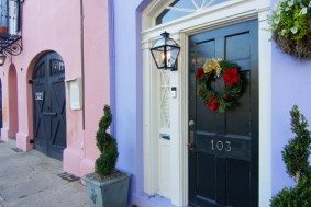 Southern holiday decorations in Charleston homes