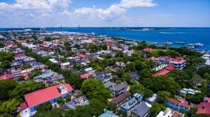 Disher, Hamrick & Myers Charleston Real Estate aerial view of downtown Charleston and harbor