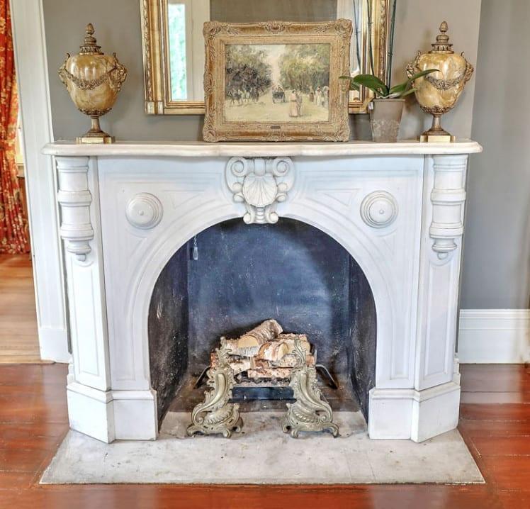 110 Ashley Avenue parlor fireplace