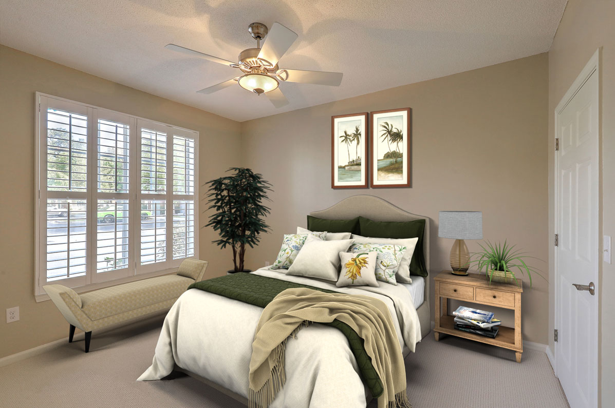 Virtual Staging tropical bedroom after