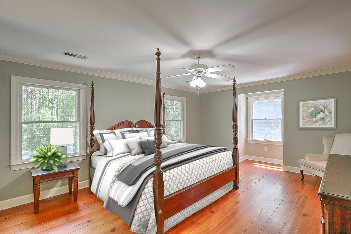 Virtual Staging of Furnished Bedroom