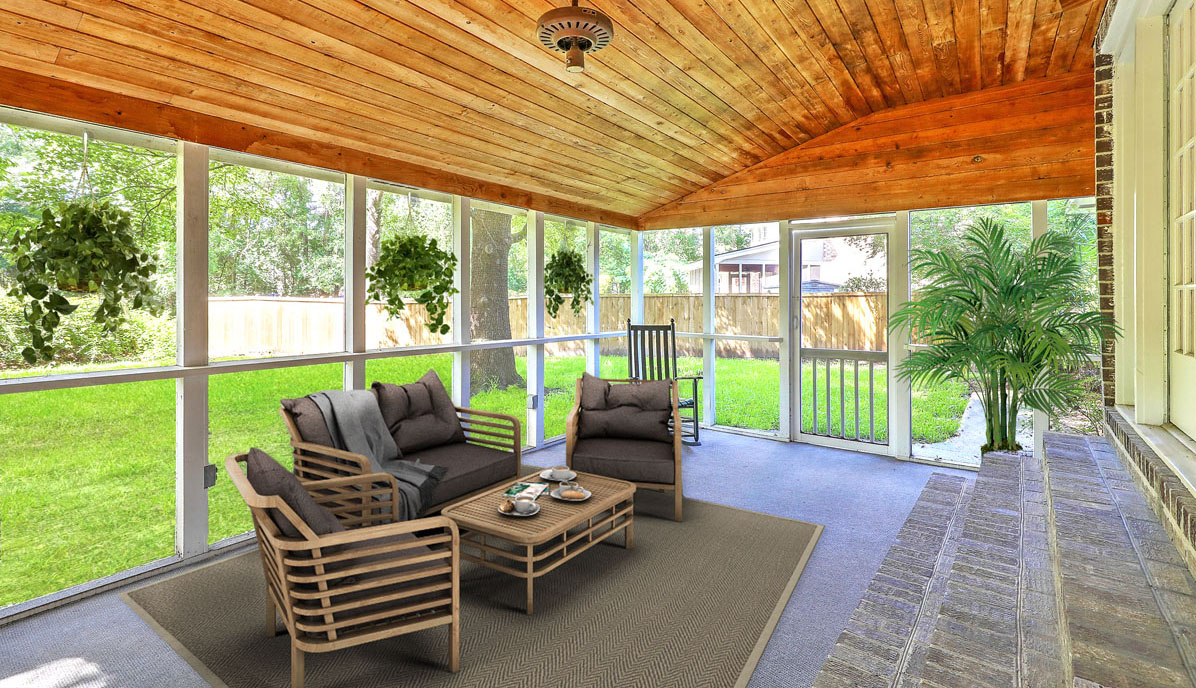 9 Windsor Drive screened porch staged