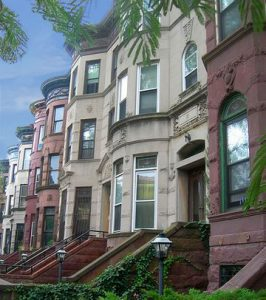 Brownstone row houses