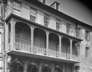 Iron Balcony at Planters Hotel, Docks Street Theatre, Charleston