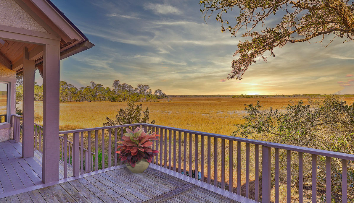 104 Marsh Elder Court, Kiawah Island deck view at sunset