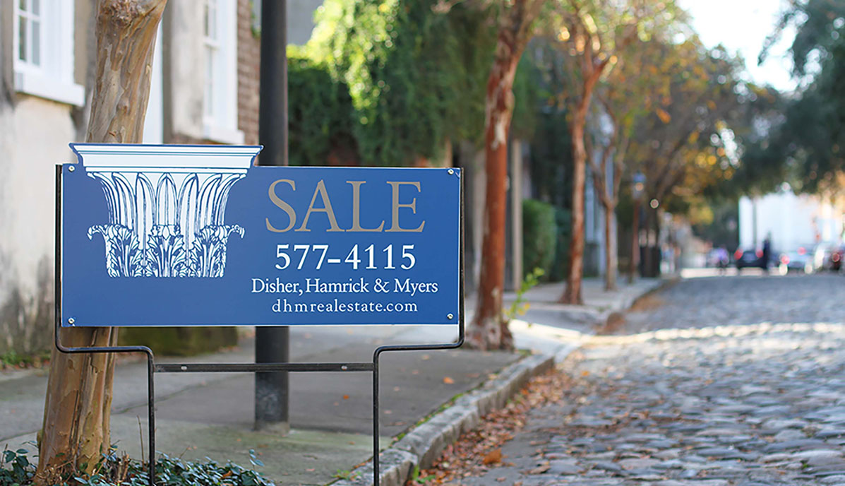 Downtown Charleston Real Estate DHM Sale Sign in Streetscape