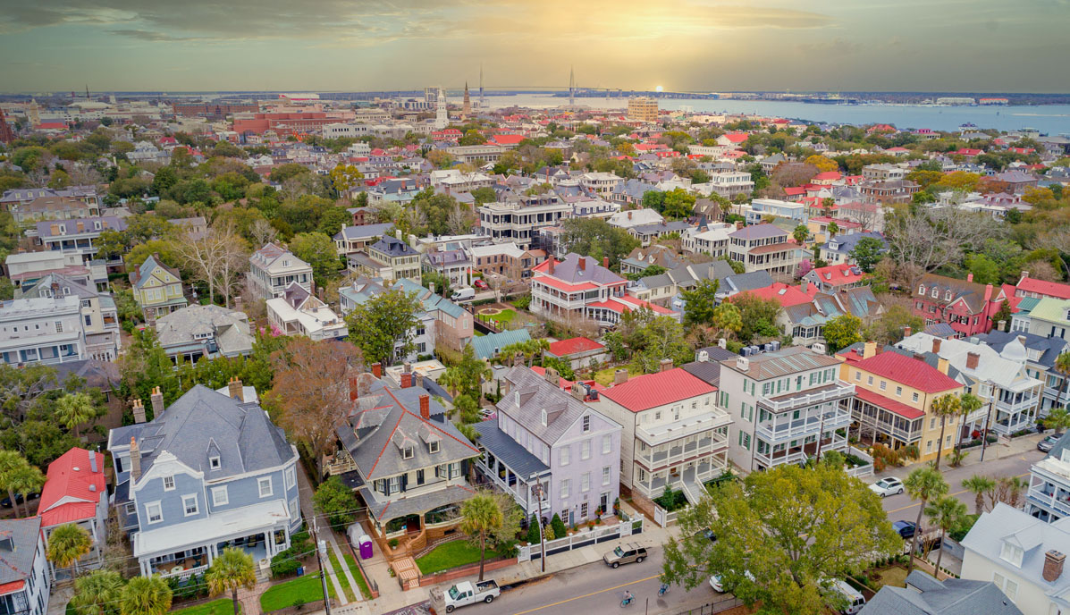 Downtown Charleston Real Estate South Battery aerial sunset